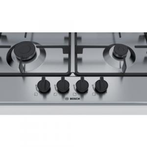 Bosch Serie 4 PGH6B5B60 piano cottura Nero, Acciaio inossidabile Da incasso Gas 4 Fornello(i)