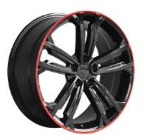 Cerchi in lega  2017 GT TDI  Dedica  VW & SKODA  18''  Width 8   5x112  ET 45  CB 57.1    GLOSS BLACK / RED EDGE