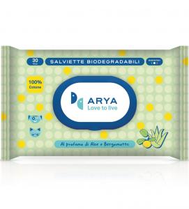 Arya - Salviette detergenti Biodegradabili - 3 confezioni da 30 pezzi