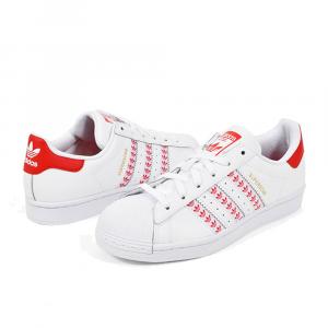 Adidas Superstar con mini Loghi Bianco Rosso da Uomo