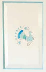 Armadio Dritto 2 ante+2 cassetti con pavoncella dipinta, finitura laccato bianco