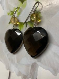 Orecchini pendenti in argento con cuore