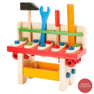 Banco da lavoro Professionista giocattolo con utensili in legno