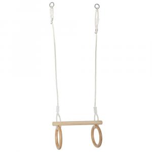 Altalena a Trapezio con anelli da ginnastica in legno