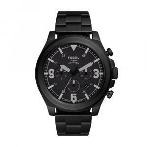 Orologio Uomo Cronografo Latitude con bracciale in acciaio nero