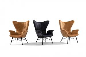 ALBERIC - Poltrona dal design moderno con schienale e braccioli curvi in tessuto tecnico antimacchia e antigraffio