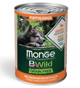 Monge - Bwild Grain Free - Puppy&Junior - Anatra - 400gr x 24 lattine