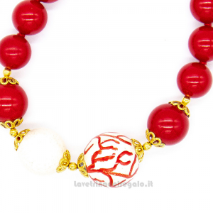 Bracciale in pasta di corallo rossa e sfera in ceramica di Caltagirone - Gioielli Siciliani