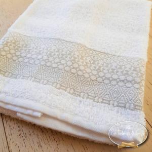 Asciugamani piedipull geometrico bianco