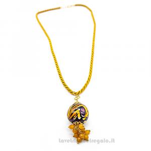 Collana ciondolo giallo in ceramica di Caltagirone con cordoncino - Gioielli Siciliani