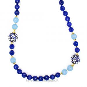 Collana agata angelite e blu con sfera in ceramica di Caltagirone - Gioielli Siciliani