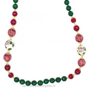Collana agata verde e amarena con sfera in ceramica di Caltagirone - Gioielli Siciliani