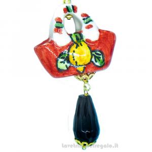 Orecchini con coffa pendenti onice in ceramica di Caltagirone - Gioielli Siciliani