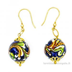 Orecchini acanto blu sfere in ceramica di Caltagirone - Gioielli Siciliani