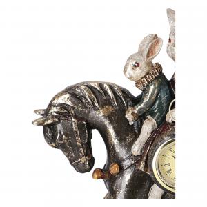Statua Coniglio a cavallo Orologio in resina