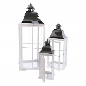 Lanterna Metallo e Legno Set 3pz