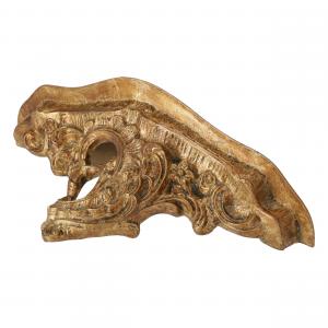 Mensola resina oro barocco con foglia grande set 2pz.