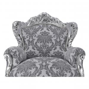 Poltrona Barok Silver Tessuto Damascato Grigio con Gemme