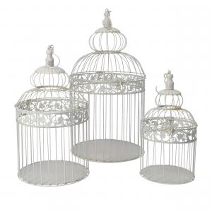 Set di tre gabbie in ferro bianco