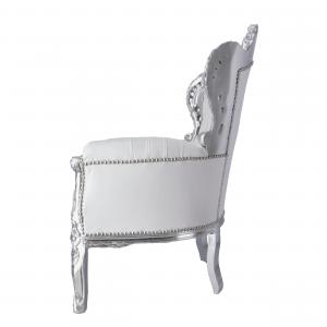 Poltrona Barok Silver Ecopelle Bianca con Gemme