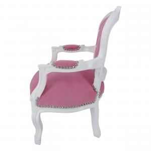 Poltrona Bambino White Velluto rosa con Gemme