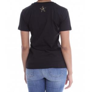 T shirt nera stampa corni con strass LIU JO