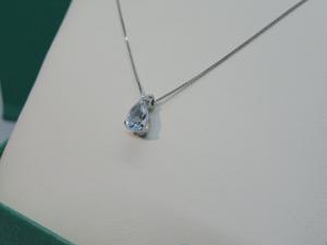 Collana a Girocollo Oro bianco 18 kt con ciondolo Acqua Marina e Diamante taglio Brillante