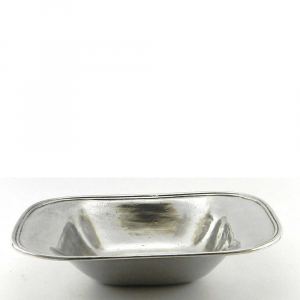 Vassoio portafrutta rettangolare liscio in peltro piccola