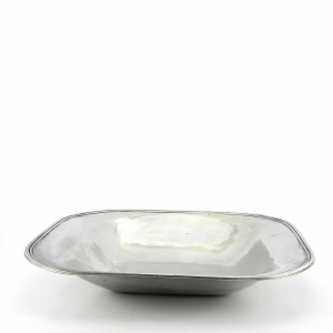 Vassoio portafrutta rettangolare liscio in peltro grande