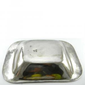 Vassoio portafrutta rettangolare liscio in peltro profonda