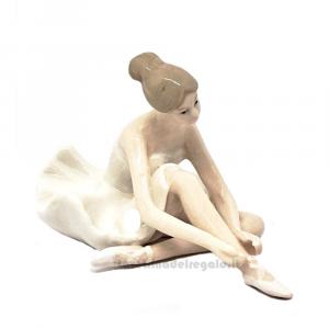 Ballerina danza classica seduta in porcellana 7 cm - Bomboniere comunione bimba