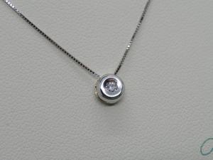 Puntoluce Collana Girocollo Oro bianco 18 kt con diamante taglio Brillante ct. 0,03