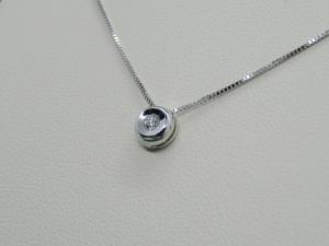 Puntoluce Collana Girocollo Oro bianco 18 kt con diamante taglio Brillante ct. 0,06