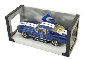 Shelby Mustang Gt500 Nightmist Blue Light Grey Stripes 1967 1/18 Solido