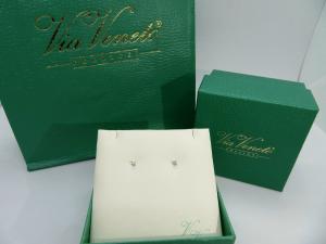 Orecchini Punto luce, griffe Oro bianco 18 kt  con diamante taglio Brillante ct. 0.03