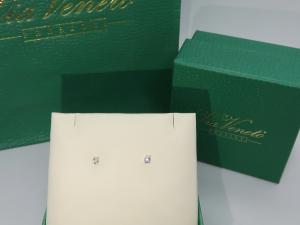 Orecchini Punto luce, griffe Oro bianco 18 kt  con diamante taglio Brillante ct. 0.06