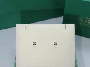 Orecchini Punto luce, griffe Oro bianco 18 kt  con diamante taglio Brillante ct. 0.10