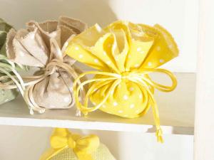 Tulle tondo a sacchetto in cotone giallo limone a pois