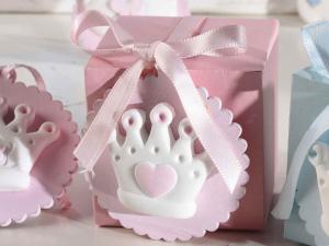 Decorazione nascita rosa in gesso da appendere