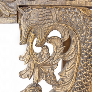 Consolle in legno di teak con frontale intagliato