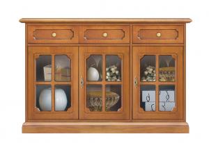 Three glass door cupboard