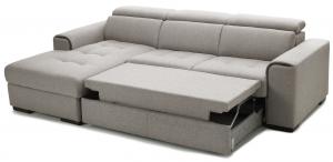CORBIN - Divano pronto letto con cassettone o carrello con poggiatesta regolabili e penisola contenitore