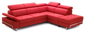 EWAN - Divano letto angolare dal design moderno con piedi cromati e cassettone o carrello + pouf contenitore