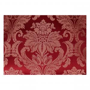Poltrona Luis legno e Tessuto Damasco Rosso