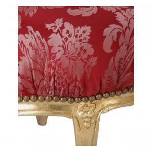 Pouf Rotondo Oro e Tessuto Rosso Damasco