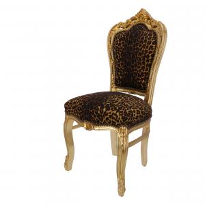 Sedia Barocco Oro e Tessuto Leopardato