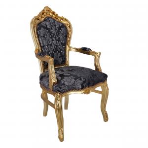 Poltrona Barocco Gemme Oro e Tessuto Damasco Blu