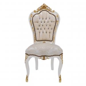 Sedia Barocco Bianca con Intarsi dorati