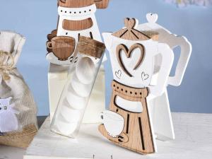 Caffettiera decorazione in legno bomboniera con provetta