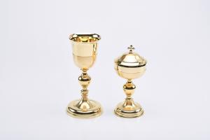 Calice in oro satinato coppa lucida cm. 22